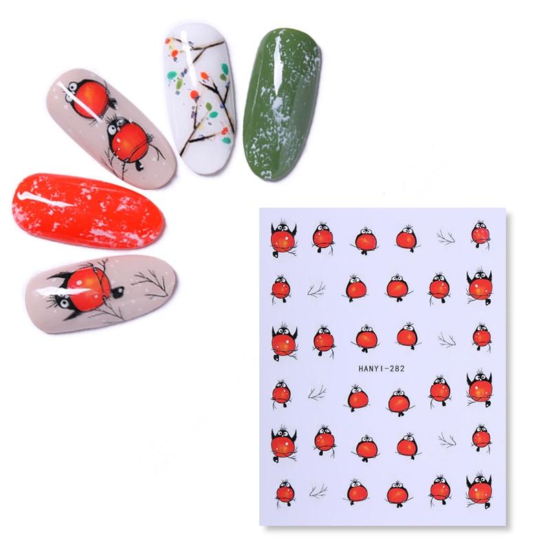 Стикеры 3D на ногти Nail Art переводные наклейки для маникюра клейкий трансферный милый стикер красный с летящими птицами дизайн аксессуары для...