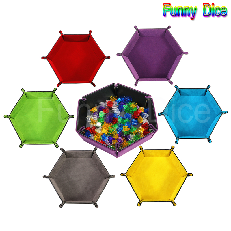 PU Leather Folding Hexagon 6 Colors Tray Soft Velvet for RPG, DnD, Protable Dice Games Storage Box for Boardgame Accessories