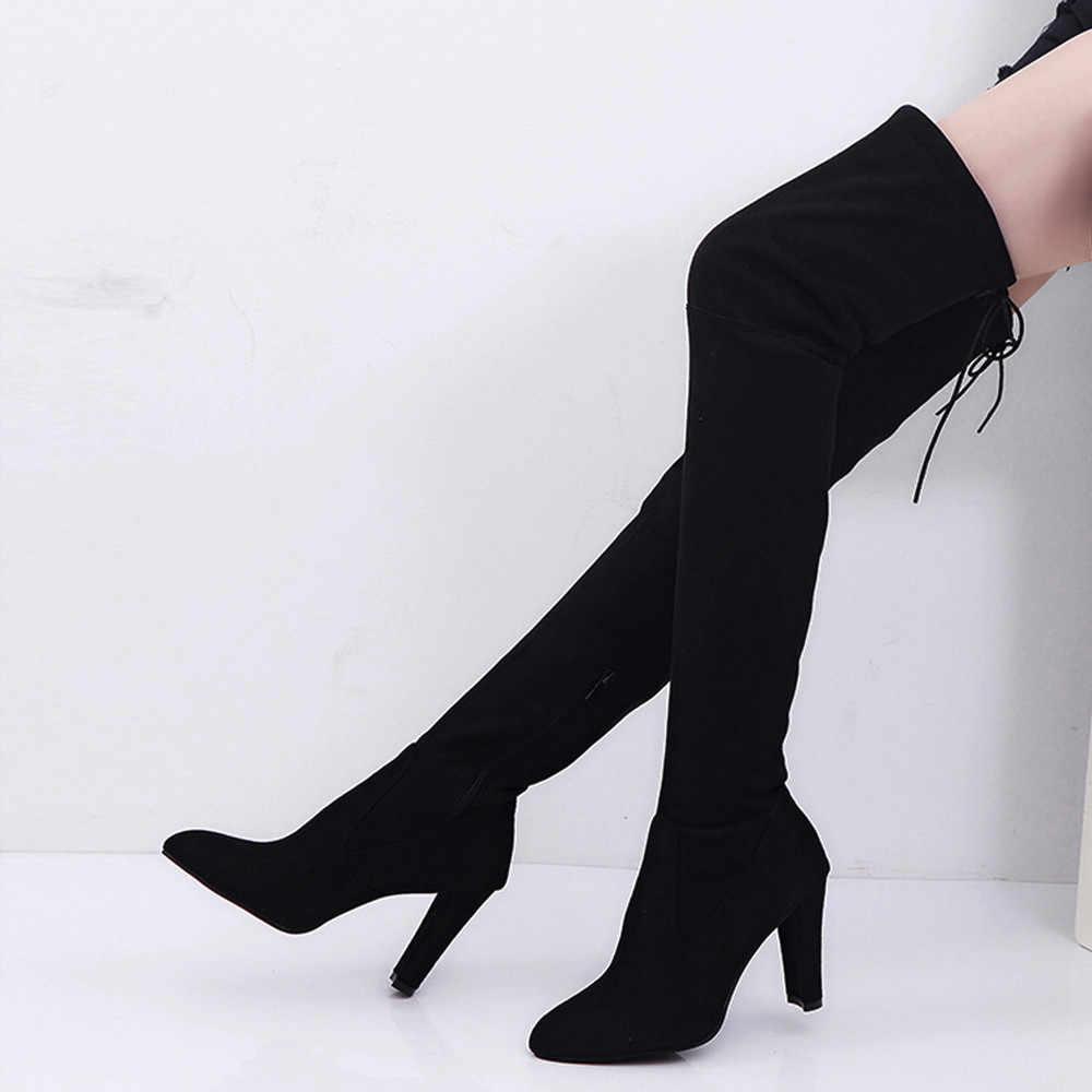 "38 #2019 Slim Trên Đầu Gối Giày Nữ Co Giãn Giả Dài Mỏng Giày Trên Đầu Gối Giày Cao Gót giày Calzado Mujer ""Ayakkabi"