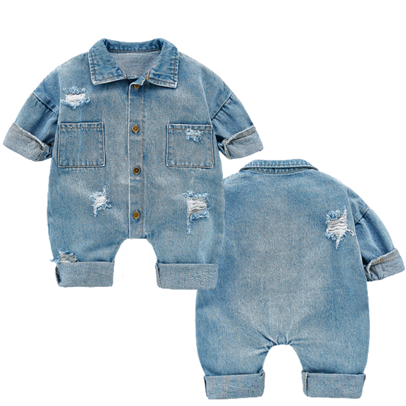 Newborn Baby Denim Baby Girl Clothes Outfits Baby Boys Rompers Kid Cotton Flexible Hole Denim Costume Girls Infant Jumpsuit