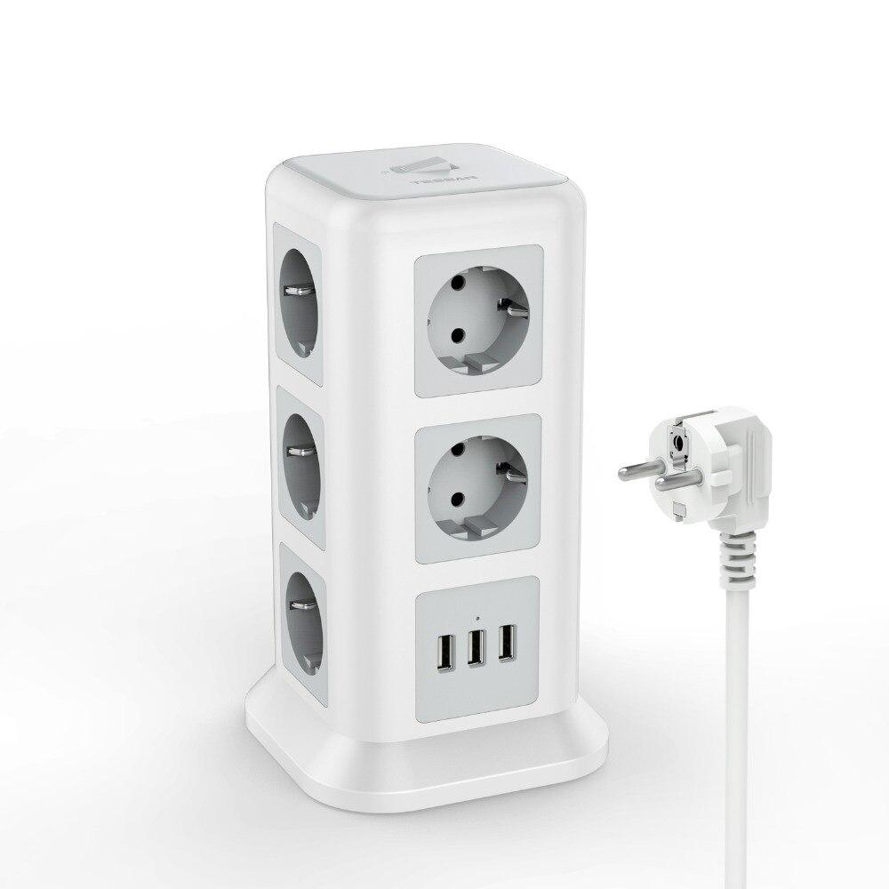 Tour Extension Lead 11 Way-TESSAN Câble d/'extension avec 3 ports USB Slots 2 m cordon