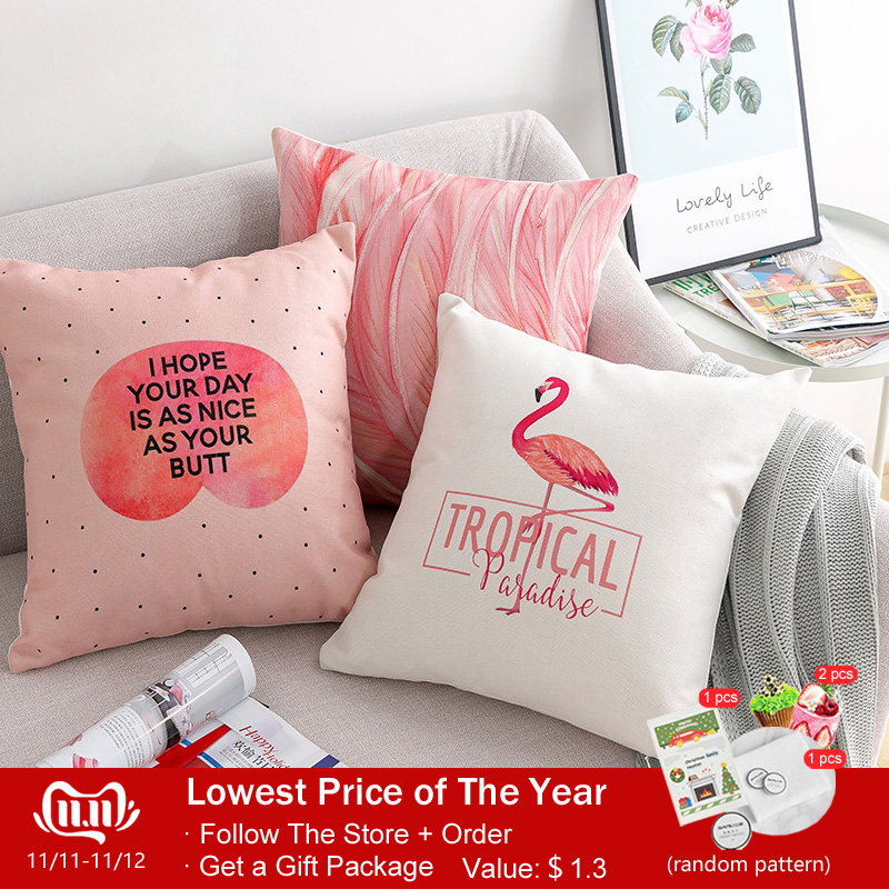 ins hot nordic girl style pink cotton cushion cover Unicorn Flamingo Feather letters geometry pillow decorative pillowcase