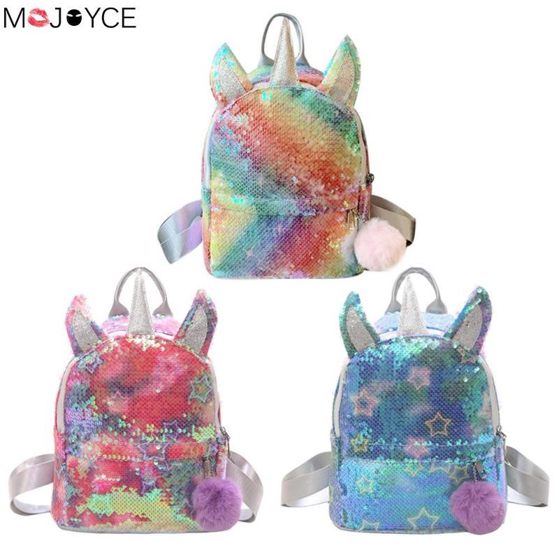 Cute Girl  Backpack Kids Sequins Women Backpack Baby Girls Boys Student Schoolbags Pompom Knapsack Child Backpack