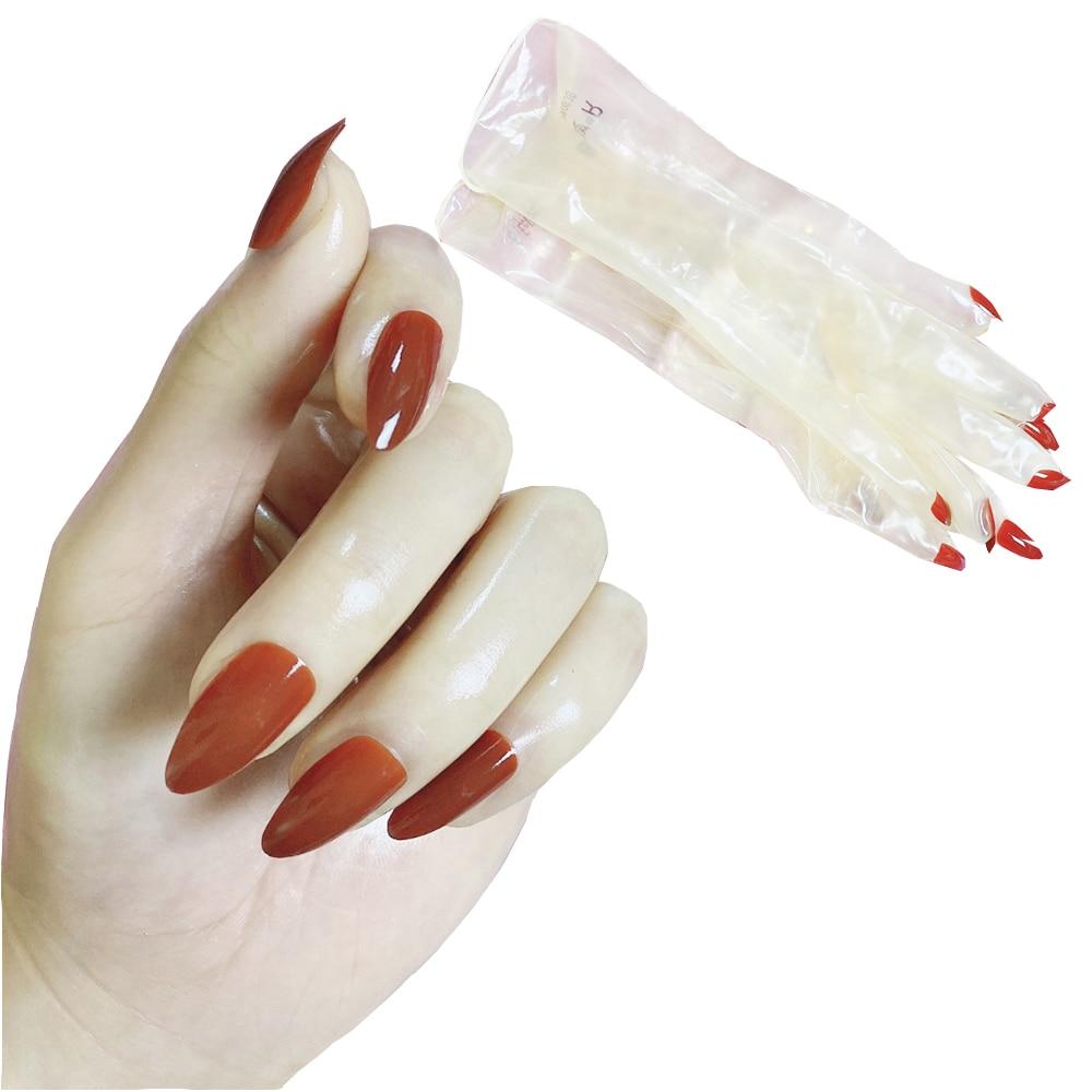 Women's Oil Shiny Transparent Super Thin Latex Zentai Glove Fetish Crossdress Men's Sheer Cosplay Kigurumi Long Nails Gloves