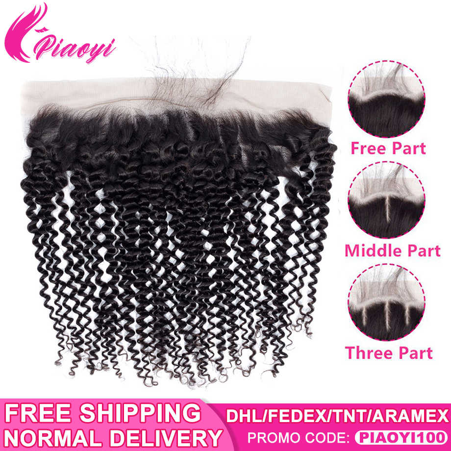 "Piaoyi Pre Plucked Ear to Ear Brazilian Kinky Curly 13*4 Lace Frontal Closure With Baby Hair 8-22"" Remy Human Hair Free Shipping"
