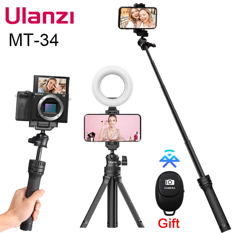 Ulanzi MT-34 Extendable Smartphone Selfie Tripod with Phone Mount 80cm Vlog SLR Mobile Tripod for iPhone 12 Pro Max 11 Sony ZV1