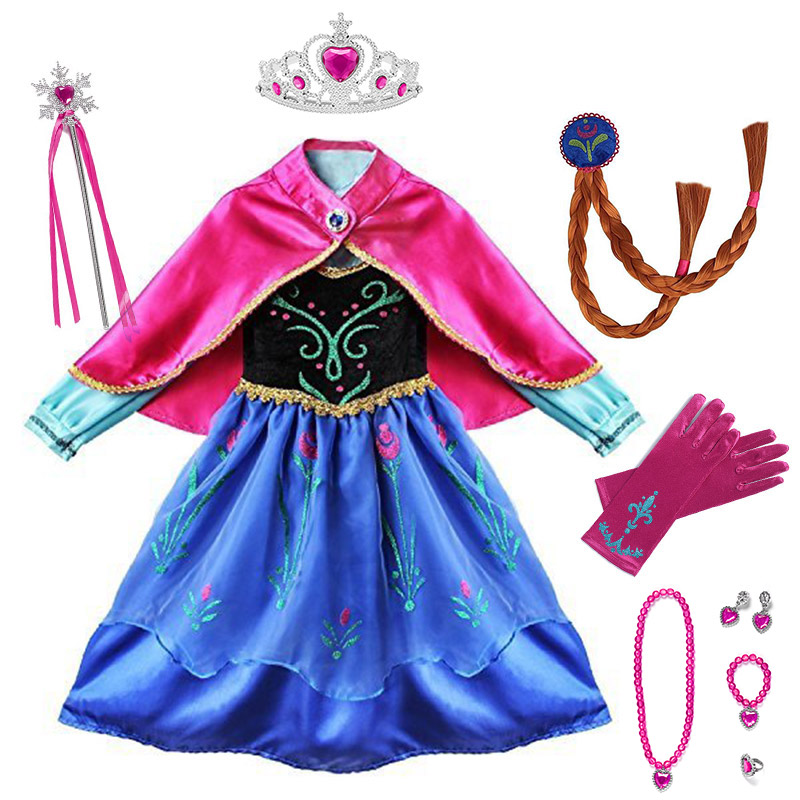 Princess Anna Party Supplies Cosplay Costume For Girls Carnival Kids Dress Up Clothing Halloween Birthday Fancy Snow Queen Dress