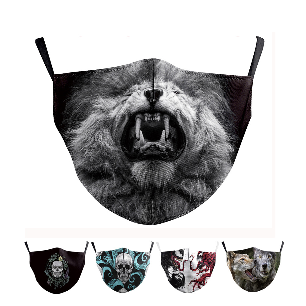 Reusable Face Mask 3D Skull Animal Pattern Dustproof Flu Protection Mouth Facial Mask Breathable Mask For Adult Kid Washable