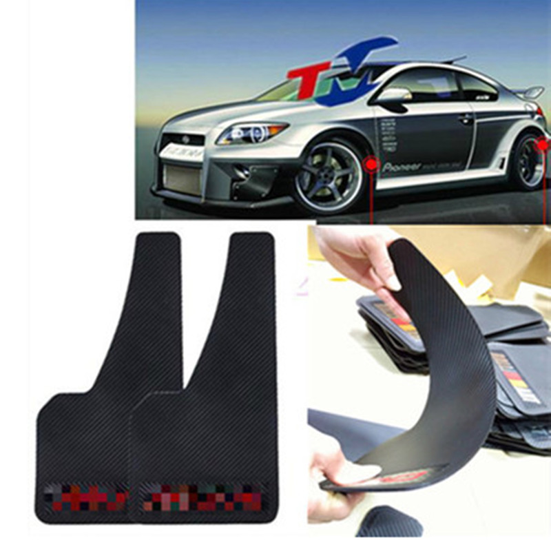Pair Carbon Fiber Surface Car Auto-Front-Rear-Wheel-Mudguard-ABS-Plastic Fender  Pair-Carbon-Fiber-Surface-Car-Auto-Front-Rear