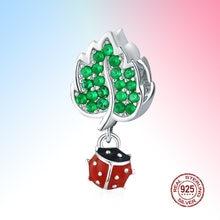 Очарование божьей коровкой и зеленым листом шарик 925 стерлингового