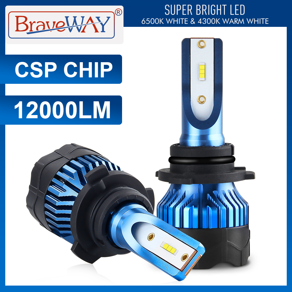 Braveway Super Led Light Bulbs H4 H7 H11 Headlight Led Car Bulb 4300K 6500K HB3 HB4 Led Light H7 Auto Lamp H4 Headlamp For Car