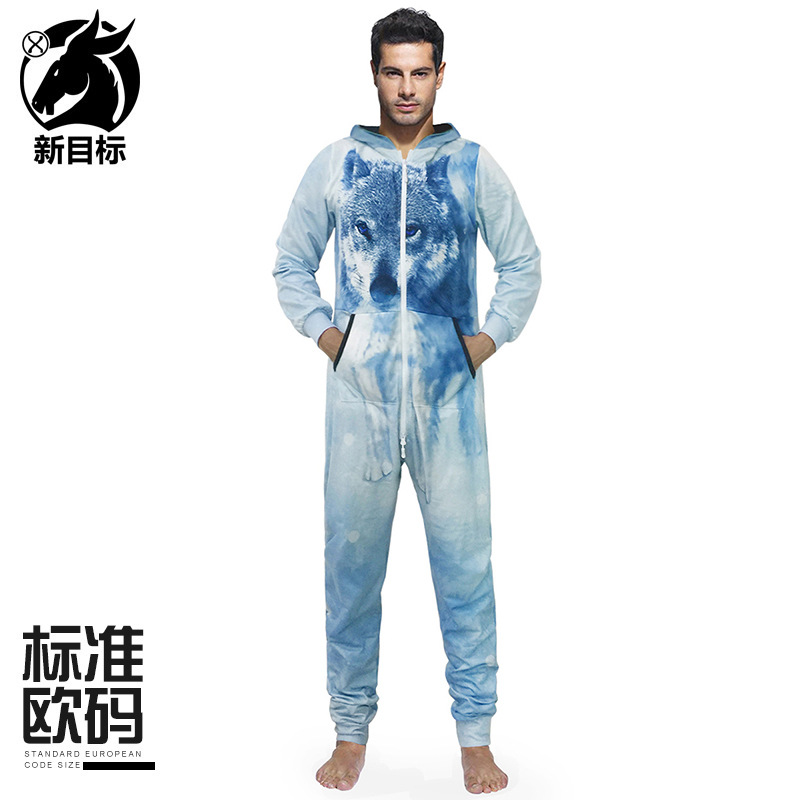 Autumn And Winter New Style 3D Snowfield Wolf Printed Long Sleeve Hooded Pajama Shirt Loose And Plus-sized One