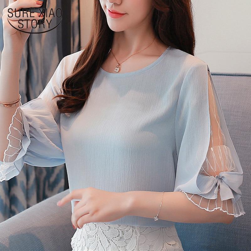 2018 Fashion Chiffon Women's Clothing Summer Half Sleeve Light Blue Women Shirt Blouse Sweet O-neck Women's Tops Blusas D740 30