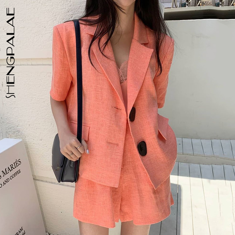 SHENGPALAE 2020 New Fashion Summer Vintage Lapel Two-button Suit Coat High Waist Loose Casual Shorts Suit Women ZA4259