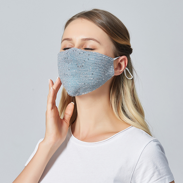 Women Summer Sequin Mask Anti-Haze Shining Party Activated carbon Windproof Mouth muffle bacteria proof Flu Face masks