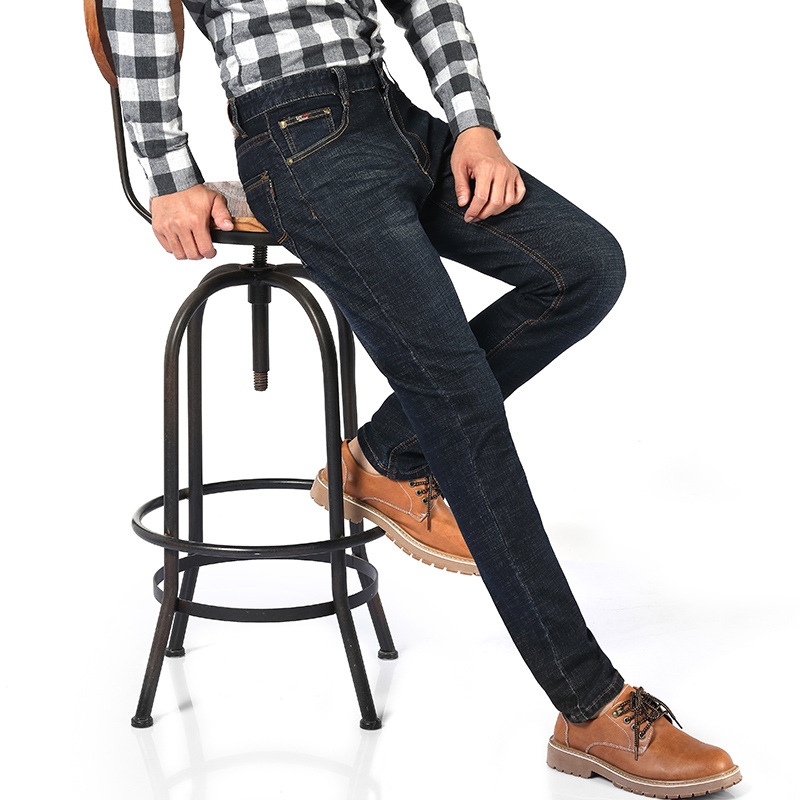 Autumn And Winter Loose-Fit Jeans Men's Wide-Leg Plus-sized Straight-Cut Thin Big Foot Middle-aged Dad High-waisted Loose Pants