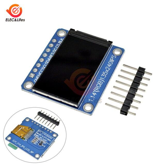 1.14inch 135x240 SPI Serial TFT LCD Display Module ST7789 Drive IC IPS HD RGB LCD Screen Full View 8 Pin 135*240 3.3V SPI Port