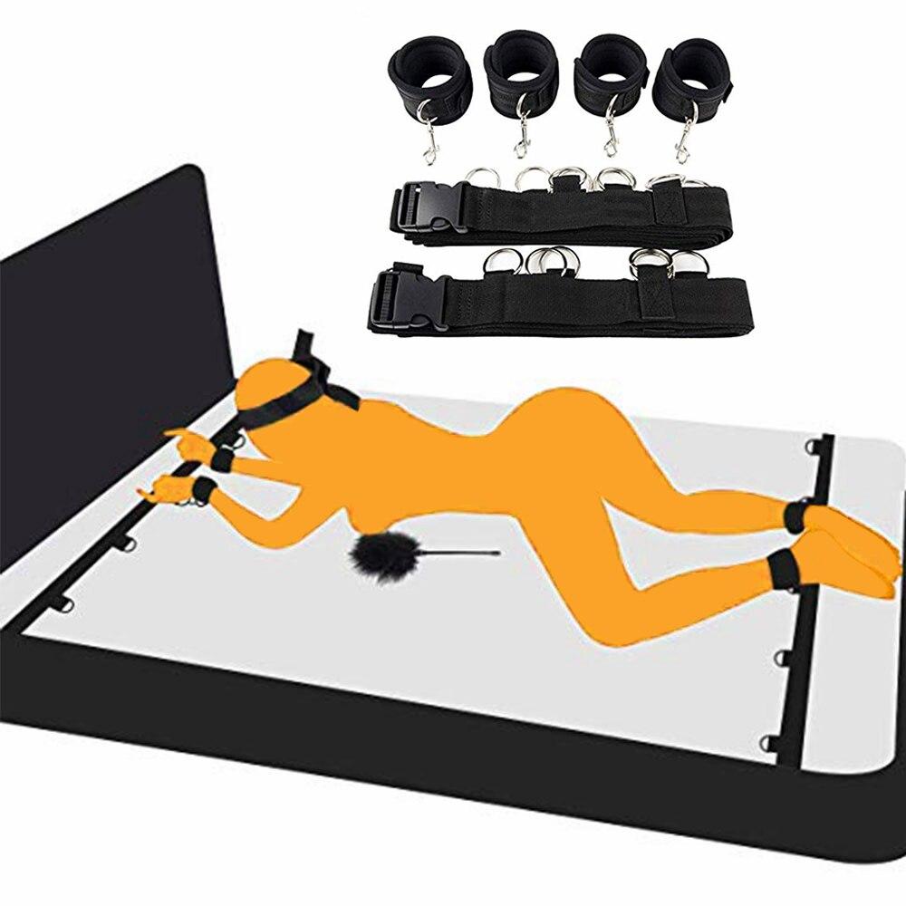 Взрослые игры SM пикантные эротические интимные игрушки для женщин Пары взрослых Открыть ног БДСМ бандаж наручники для нейлон лодыжки манже...