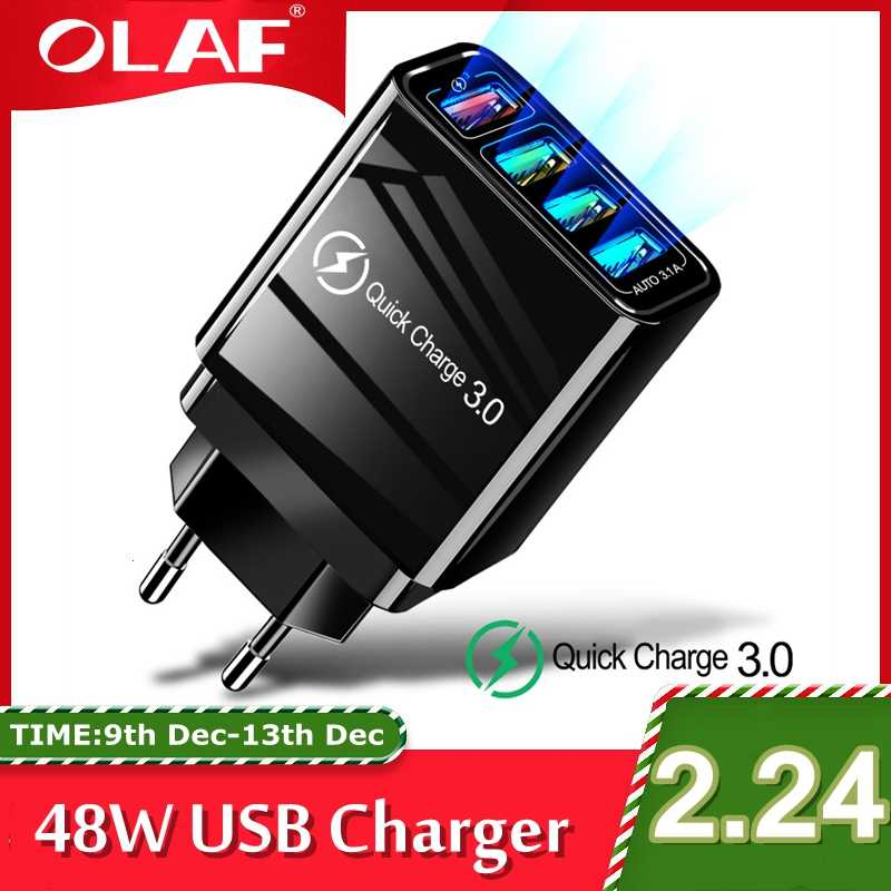 Chargeur rapide 48W 3.0 USB chargeur pour Samsung A50 A30 iPhone 7 8 Huawei P20 tablette QC 3.0 chargeur mural rapide US ue prise royaume-uni Adapte