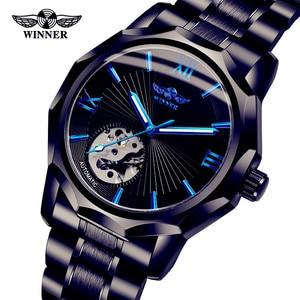 Winner Top Brand Blue 3D Design Transparent Skeleton Dial Hollow Mens Watch Luxury Automatic Fashion Mechanical wrist watch
