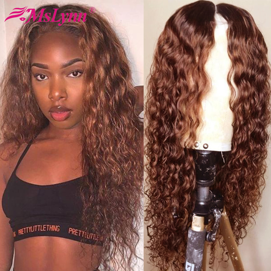 Brown Lace Front Wig Water Wave Lace Front Human Hair Wigs Pre Plucked 13x4 Lace Front Wig For Black Women Mslynn Hair Remy