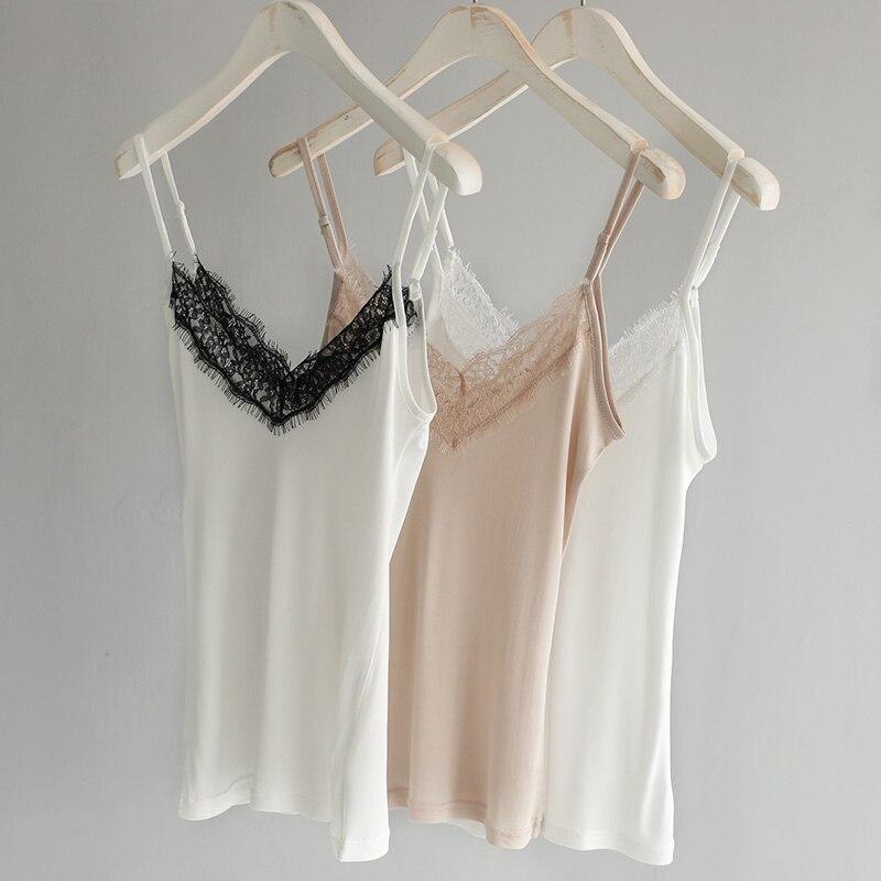 Straightforward Camisole Top Femme 50% Real Silk Lingerie Undershirt Women Singlet Halter Tank Top Vest Camis Lace Sexy Sleeveless Summer