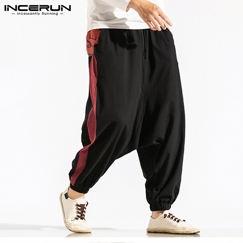 INCERUN Men Harem Pants Print Patchwork Elastic Waist Joggers Streetwear Loose Drop-crotch Pants Casual Cotton Trousers Men 5XL