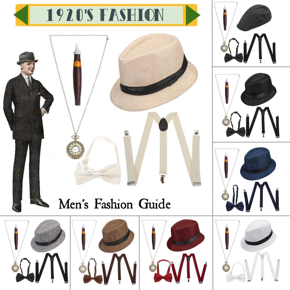 1920s Mens Accessories Costume Accessories Set 5 Pcs/Set Gangster Set Hat Suspenders Bow Tie Pocket Watch Cigar
