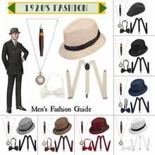 Набор аксессуаров для костюма 1920-х годов, 5 шт./компл. Гангстерский набор, шляпа, подтяжки галстук бабочка, карманные часы, сигары