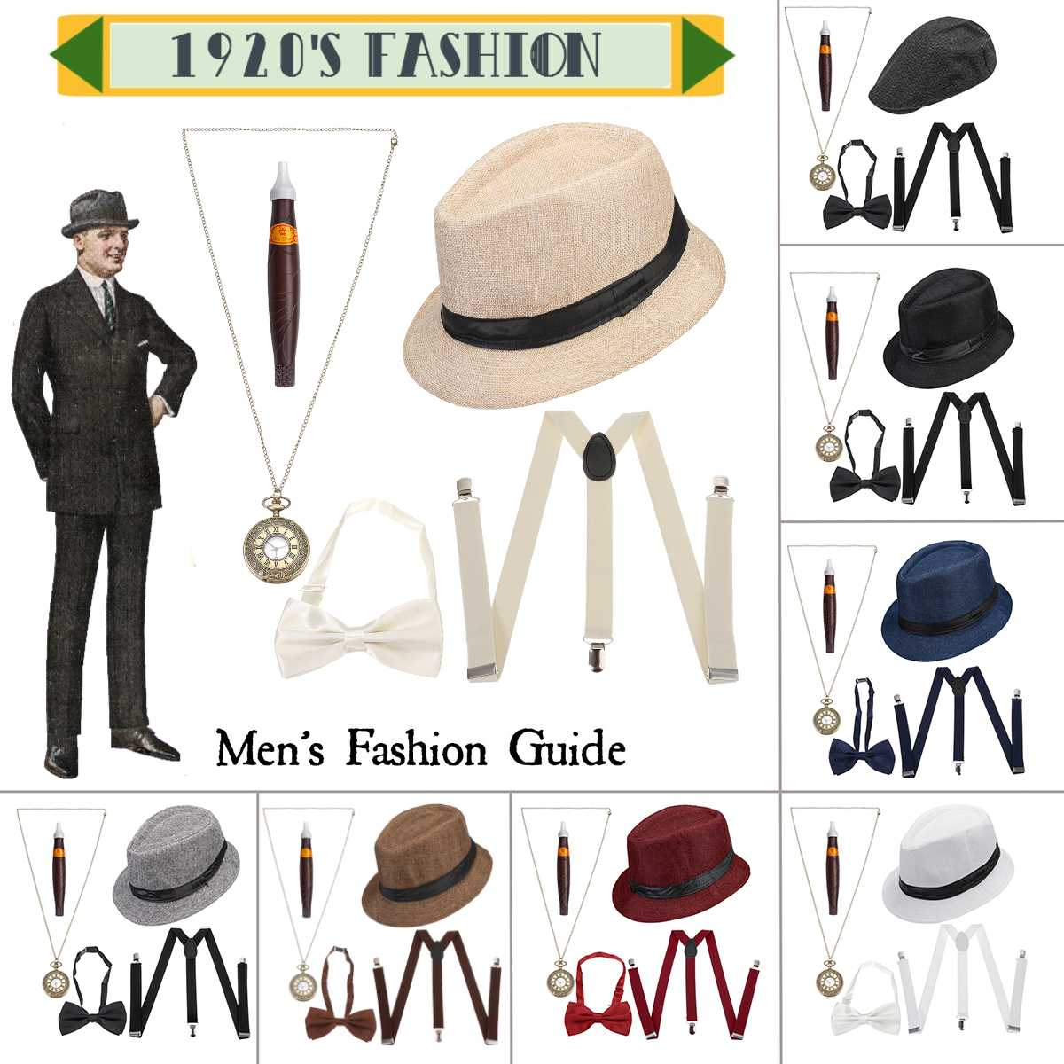 1920s Mens Accessories Costume Accessories Set 5 Pcs/Set <font><b>Gangster</b></font> Set Hat Suspenders Bow Tie Pocket Watch Cigar image