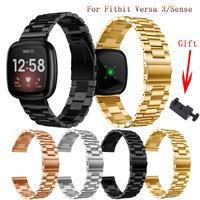Correa de diamante para Fitbit Versa 3/ Sense, Reloj clásico para hombre y mujer, pulsera de repuesto, accesorios