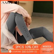 Amii Minimalism Winter Fashion Printed Women's Leggings Causal Thick Fleece Slim Fit Stretch Thermal Women's Pants  12020292