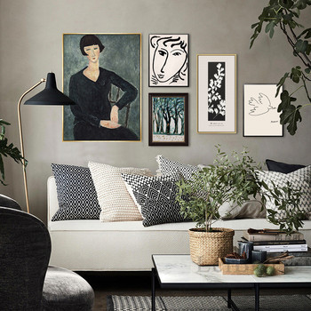 Classic Amedeo Modigliani Picasso Artwork Collection Sketch Canvas Print Painting Poster Wall Pictures Living Room Home Decor image