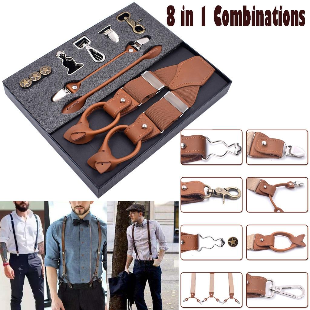 8 In 1 Fashion Suspenders Bts . Leather Bts Bangtan Clips Braces Vintage Suspenders Szelki Casual Suspensorio Tirantes Bretels