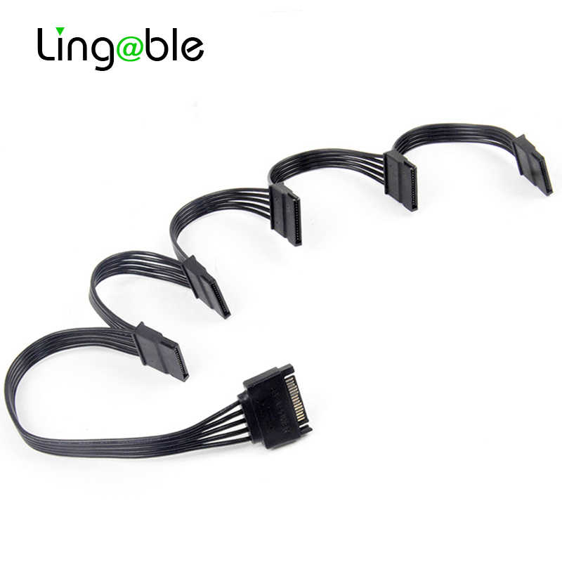 Lingable SATA 15Pin 1 do 5 SATA 15Pin dysk twardy rozdzielacz zasilania kabel do DIY PC Sever 15-pin SATA Power 60CM