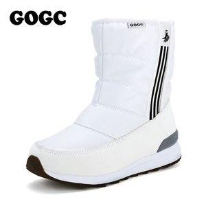 Image 3 - GOGC Warm 방수 Boots 대 한 Women Warm 눈 Boots 2018 Fashion Winter Boots Women 와 털 봉 제 큰 Size 겨울 신발 Women