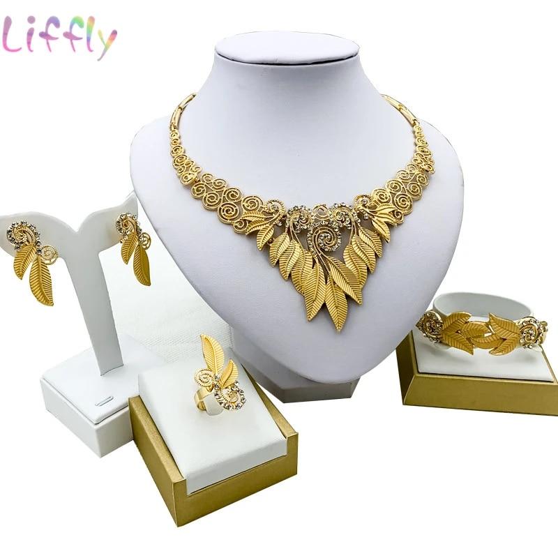 Liffly Popular Dubai Women's Jewelry Set Sweet Love Necklace Earrings Ring  Bracelet Trendy Nigerian Wedding Jewelry Africa|Jewelry Sets| - AliExpress
