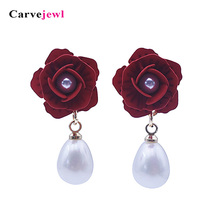 Carvejewl drop earrings flower tear pearl pendant Dangle Earrings For Women jewelry fashion Korean 2019 wholesale