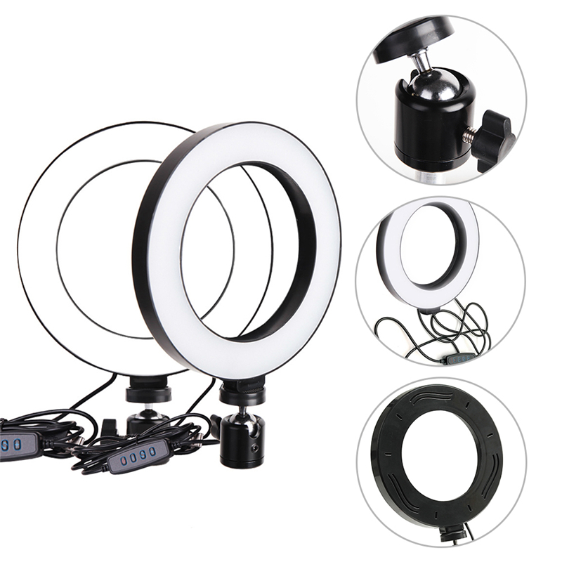 cheapest Cell Phone Tripod Selfie Stick Tripode with 26CM LED Selfie Ring Light Panorama Pan Head Travel Portable Tripod Stand for Mobile