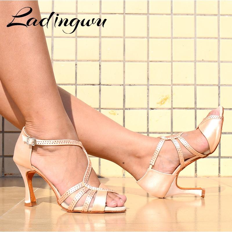 Ladingwu New Latin Dance Shoes Women Salsa Ballroom Dancing Rhinestone Shoes Unique Tailoring Design Silk Satin Skin color Red