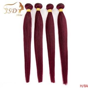 Tissage en lot brésilien non-remy lisse bordeaux rouge-JSDShine | 99J, Double trame, Extension de cheveux, lots de 3/4