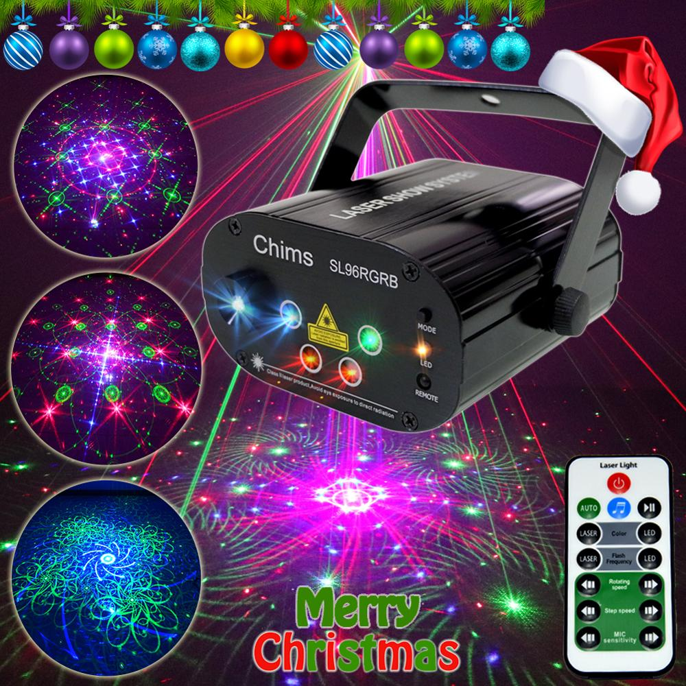 Chims RGB Stage Light Party Laser Light 96 Pattern Laser Projector Led Colorful DJ Music Xmas Christmas Disco Show Dance DJ Club