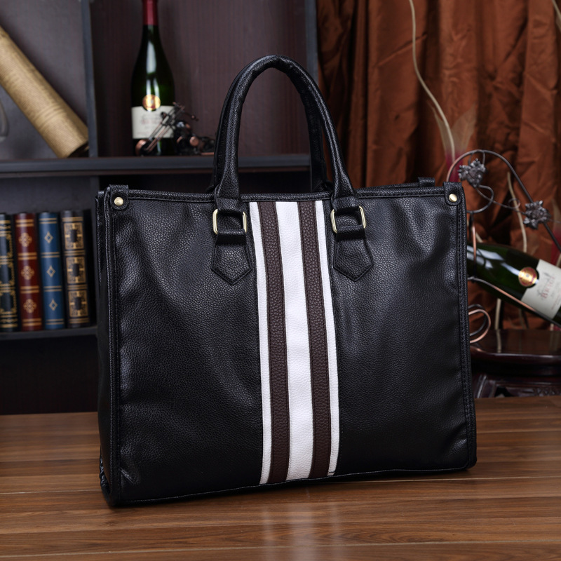 Large Pu Leader Laptop Bags For Men Office Handbags Notebook Briefcase New Arrive 2020 Shoulder Bags Fashion Stripes Business