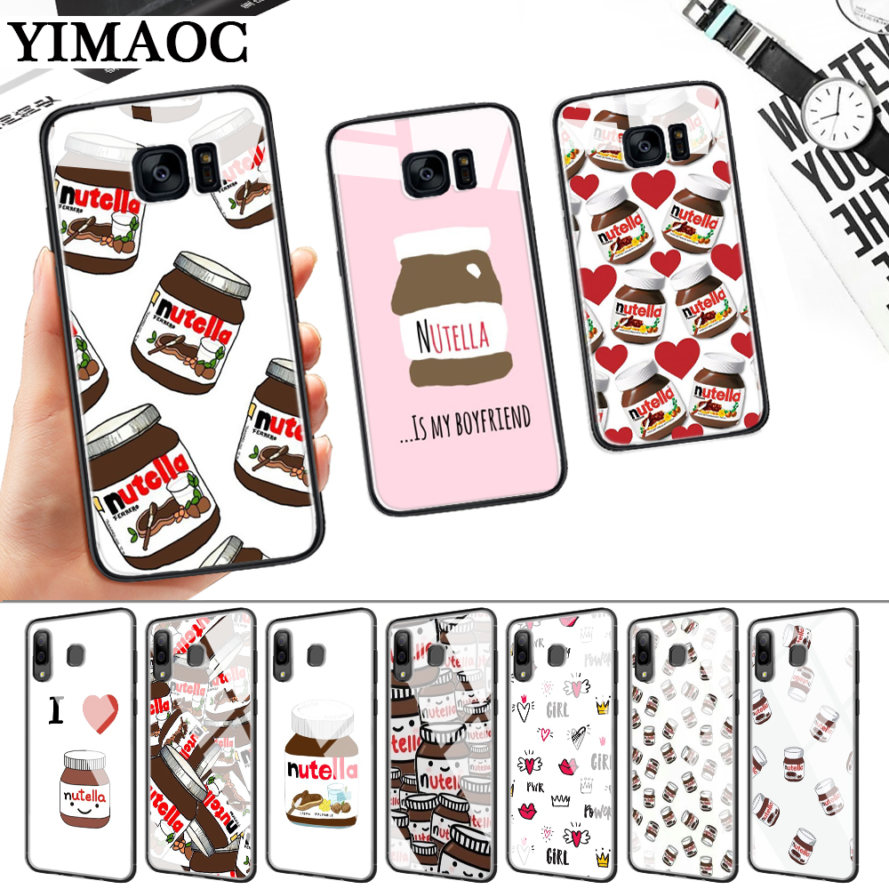 food Chocolate Nutella Glass Case for Samsung S7 Edge S8 S9 S10 Plus S10E Note 8 9 10 A10 A30 A40 A50 A60 A70