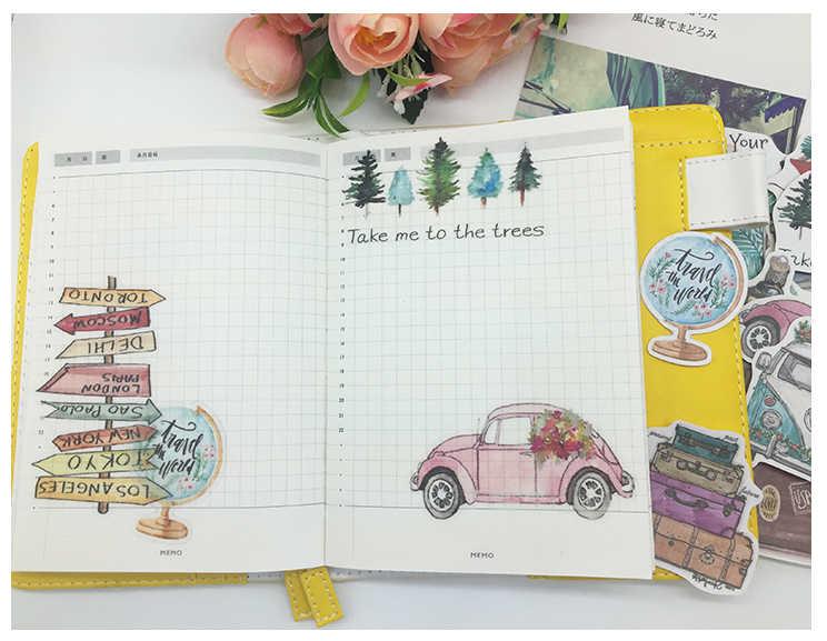 24 adet DIY scrapbooking el yapımı çıkartmalar bitki ağaçları araba otobüs yavaş yaşam albümü dergisi mutlu planlayıcısı etiket dekorasyon çıkartmalar