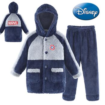 Disney dziecięca piżama z kapturem flanelowa chłopięca koralowa polarowa zagęszczona jesień zima chłopięca duża dziecięca odzież domowa tanie i dobre opinie 3-6y 7-12y 12 + y Mężczyzna Mikrofibra CN (pochodzenie) Przycisk Cartoon Zestawy snu Pełna REGULAR