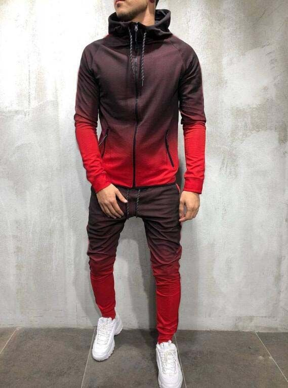 New Style Men Casual Sports Gradient Color Europe And America Fashion Hoodie Hooded Set