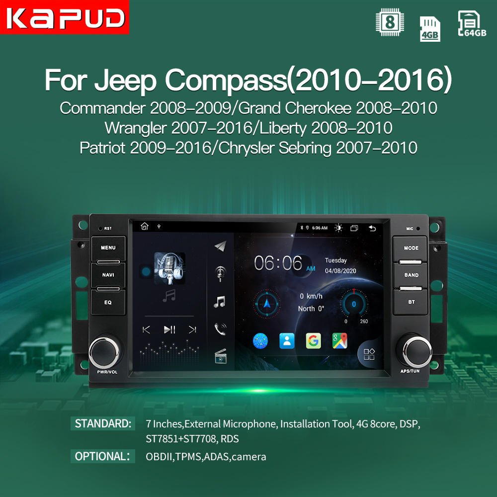 Автомобильный радиоприемник Kapud 8 ядер 4G Android 10 GPS-навигация для Jeep Compass/Commander/Grand Cherokee/Wrangler/Liberty Auto Stereo DSP FM