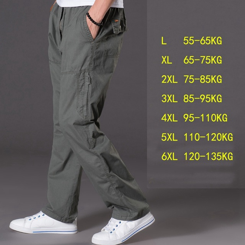 Image 4 - spring summer casual pants male big size 6XL Multi Pocket Jeans oversize Pants overalls elastic waist pants plus size men-in Cargo Pants from Men's Clothing
