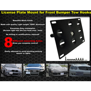 Image 5 - RASTP 자동 블랙 프론트 범퍼 견인 후크 라이센스 플레이트 장착 브래킷 홀더 RS BTD013